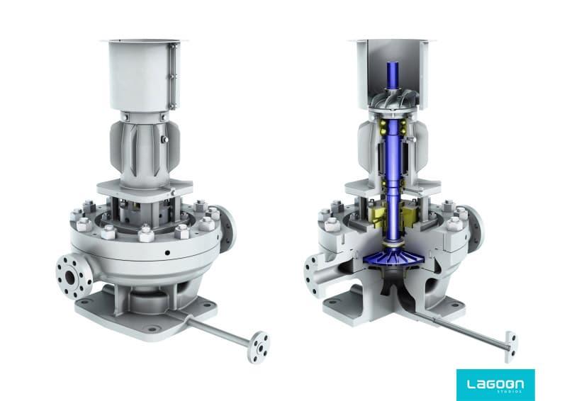 image 3D d'une pompe sulzer par lagoon studios animation 2D/3D et VFX