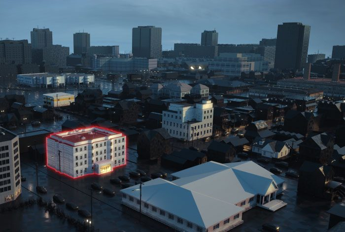 Image 3D pour la ville fictive de Mitsubushi par Lagoon Studios.